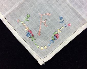 Vintage 1940s White Cotton Handkerchief – Pink Monogram F - Embroidered Hanky - Estate Accessory