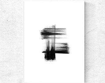 Minimalist Black and white print, abstract art, Japanese brush stroke, black printable wall art, digital print download, 4x6, 5x7 art print
