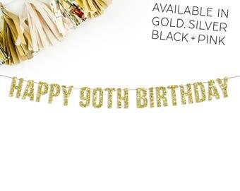 Happy 90th Birthday Glitter Banner | 90th birthday | party decor | 90 | ninety | gold glitter banner