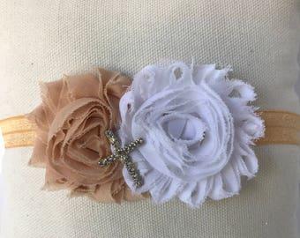 Beige and White Shabby headband with diamond cross embellishment baby headband, toddler headband,  child  headband, girl headband, rose head