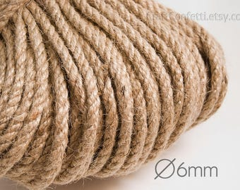 Jute cord 6mm Natural jute twine Jute rope Natural rope Plain twine Gift wrapping Craft twine Burlap cording Hemp twisted cord / 5 meters