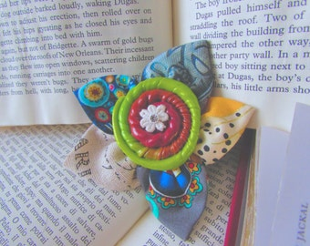 Vintage Style Brooch, Custom Glam, Boho Glam, Hippie Chic, Polymer Clay Jewelry, Whimsical Jewelry, Creative Gift, Gift for her, Kitschy
