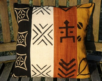 "Bogolan /Mudcloth/ cushion cover / pillow / natural colours/ hand woven / stripes / Mali/ Bogolanfini / 40x40cm  (16x16"")"