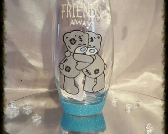 Hand painted me to you friendship glass