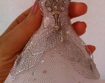 Miniature ballet dress scale 1:12.  White and Silver. Exclusive desing. Handmade. Perfect for your Dollhouses