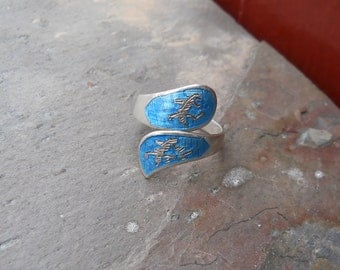 Sterling Silver, Cloisonne wrap, or friendship ring from Siam.