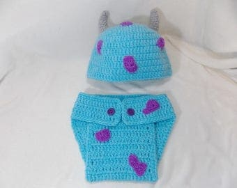 Sulley monster  hat and Diaper Cover  Available in Newborn to 24 Month Size- MADE TO ORDER