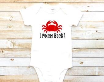 I pinch back, baby girl, baby boy bodysuit, funny shirt, crab bodysuit, summer