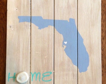 Custom Made Wood Florida Home Sign, Sand Dollar, Sea Biscuit, Coastal Home Sign, Floirda State, Coastal Wall Art, Shabby Chic, Holiday Gift