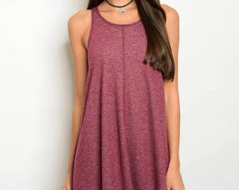 Monogrammed Maroon Heathered - T Back Tunic