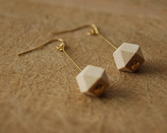 Earrings with wooden geometric bead