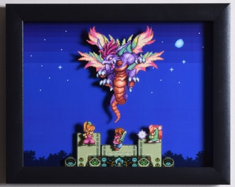 """Secret of Mana Shadow Box - """"The Mana Beast"""" 3D Video Game Shadow Box with Glass Frame"""