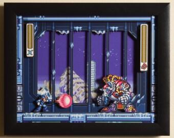 "Mega Man X3 (SNES) - ""Blizzard Buffalo"" 3D Video Game Shadow Box with Glass Frame"