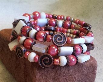 Southwest Bracelet,BohoBracelet,Copper spiral wrap bracelet,Beaded Memory wire bracelet,Boho jewelry,Gifts for her,Southwestern Jewelry