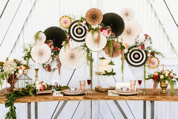 wedding party flowers ideas botanical pinwheel backdrop paper rosette backdrop wall 9852