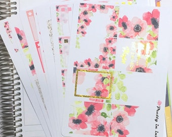 Laurel Erin Condren planner stickers weekly stickers floral foil stickers kit