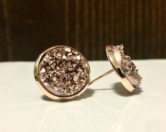 12mm Rose gold faux druzy studs in rose gold setting