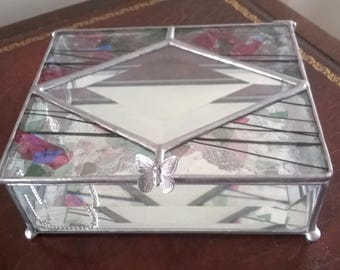 Stained Glass Jewelry Box - Beveled Glass - Handcrafted