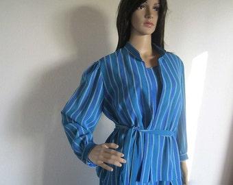 Vintage 80s dress & blouse Lady F dress stripes dress L