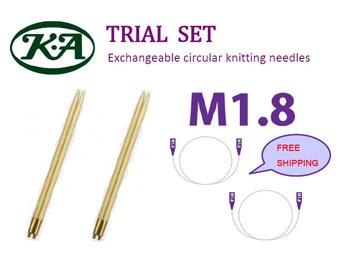 Trial Set, KA Exchangeable Circular Knitting Needles M1.8, Exchangeable, Bamboo, Knitting needles, Interchangeable, Made in Japan