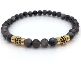 Bead Bracelet, Gemstone Bracelet, Women/Men Yoga Bracelet, Pave CZ Ball Nature Stone Beads Fashion Charm Bracelets For Jewelry Gift - BB05