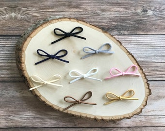 Suede Bow Headband - You Pick Three - Simple Baby Bow - Hand-Tied Bow - Baby Bow Headband - Baby Girl Headband