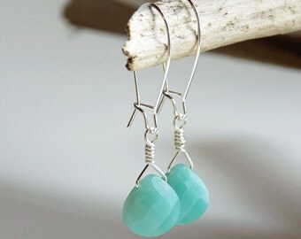 Amazonite Gemstone Faceted Briolette Drop Earrings, Amazonite Earrings, Gemstone Drop Earrings, Gifts For Her