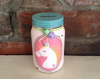 Unicorn Mason Jar money bank, piggy bank, savings jar, Shabby chic, vintage