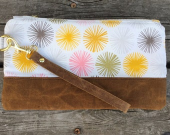 Waxed canvas wristlet