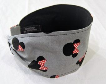 Minnie Mouse Headband, Wide Women's Headband, Cotton Headband, Cute Headband, Grey Black Red Hair Band, Unique Gift Idea, Retro Headband