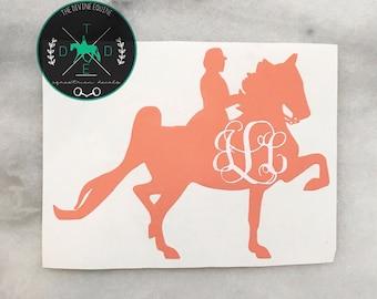 Saddlebred/Saddleseat Horse Vinyl Monogram Car Decal - equestrian sticker