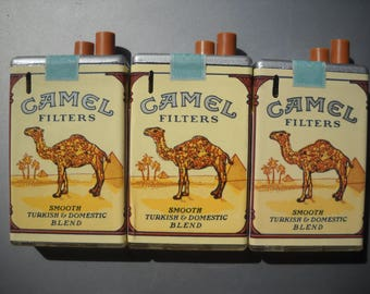 Lot 3 Vintage CAMEL LIGHTERS ~ Cigarette Pack Lite ~ Butane