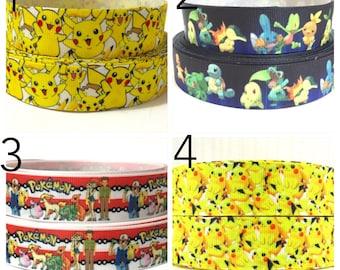 """1"""" Pokemon Ribbon by the Yard, Pokeball Ribbon, Pikachu Grosgrain Ribbon, Pikachu Ribbon, Pokemon Go Ribbon, Cartoon Ribbon, Printed Ribbon"""