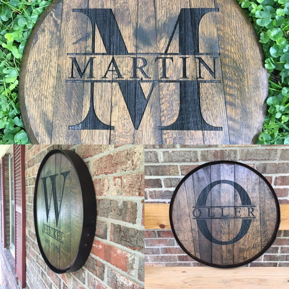 Personalized Reclaimed Bourbon Barrel Top Laser By