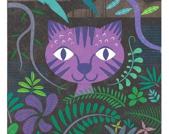 Big Cat Tiger Print, Night Time, Nursery Art