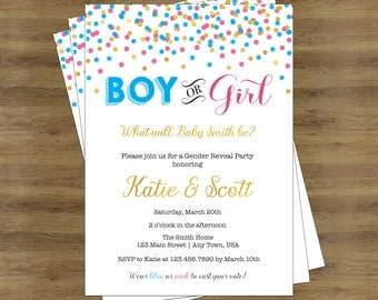 Gender Reveal Invitation Printable Gender Reveal Invites