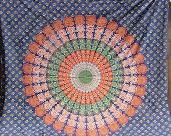 Mandala fabric - Blue, Orange, etc - Queen size - College dorm, wall hanging, gypsy, hippy boho fabric