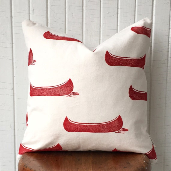 "ORGANIC canvas with red canoes, 18"" square, cottage style, cottage chic, outdoor, red decor, lakehouse, cabin, throw pillow, porch pillow"