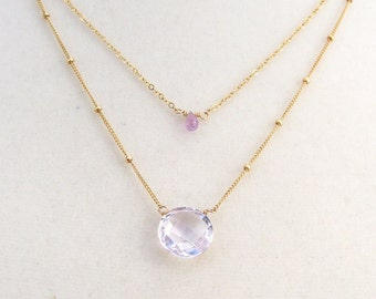 Pink Amethyst necklace with Safir, goldfilled, two in one, two necklaces, layering look