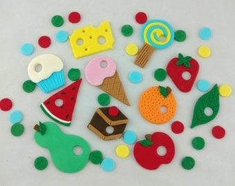 The Hungry Caterpillars Cake Topper Picnic Food and Spots Birthday Set