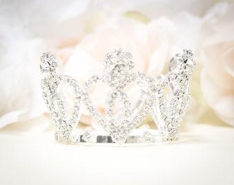 Rhinestone Baby Crown, Baby Tiara, Mini Crown, Tiny Crown Photo Prop, Princess Mini Crown, Cute Baby Crown