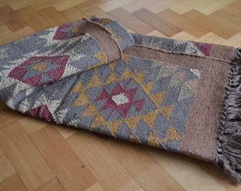 Kilim Rug Indian Jute Wool Cotton Diamond