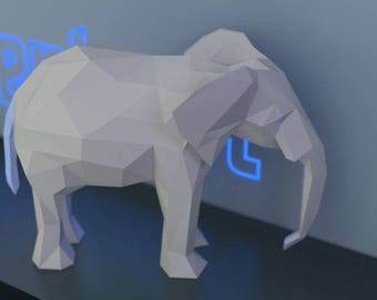 Elephant Papercraft 3D Low Poly Animal Sculpture - Download, Print and Make Your Own