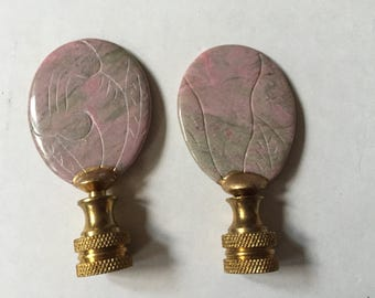 Vintage Chinese Lamp Finial Pink Gray