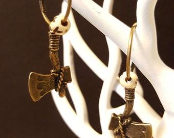 PIN & Bones - bronze rings, earrings charm axe and bone beads