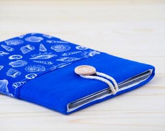ipad air fabric case - ipad air 2 fabric case - ipad air 2 fabric sleeve - ipad air fabric sleeve - linen ipad case - seashell ipad case