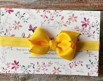 Yellow Bow Headband/Yellow Baby Bow/Yellow Headband/Bow Headband/Baby Headband/Newborn Headband/Baby Girl Headband/Headband/Bow Headband