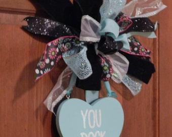 Black and Aqua Reversible Wooden Conversation Heart Valentine's Day Door Hanger, You Rock & Awesome, Valentine's Day Wreath, Valentine