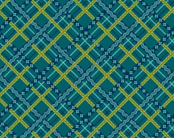 Teal Plaid Cotton Fabric from the Pieceful Gathering Collection by Studio e Fabrics
