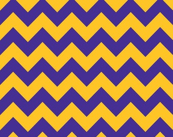 """End of Bolt, Medium Purple and Gold Chevron from Riley Blake, C380-06 PURPLE/GOLD, Cotton, 34""""x44"""""""
